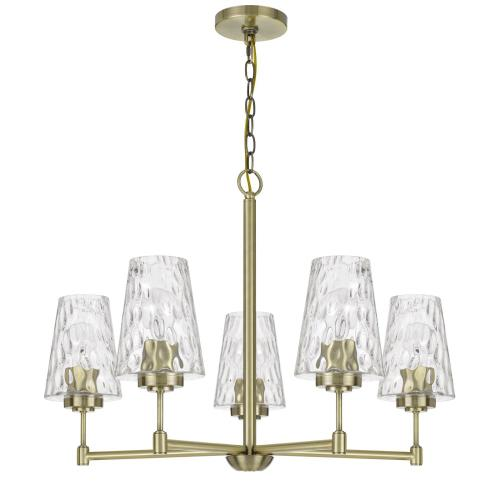 60W x 5 Crestwood metal chandelier with textured glass shades