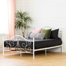 Summer Breeze - Complete Metal Platform Bed, Pure White, Full
