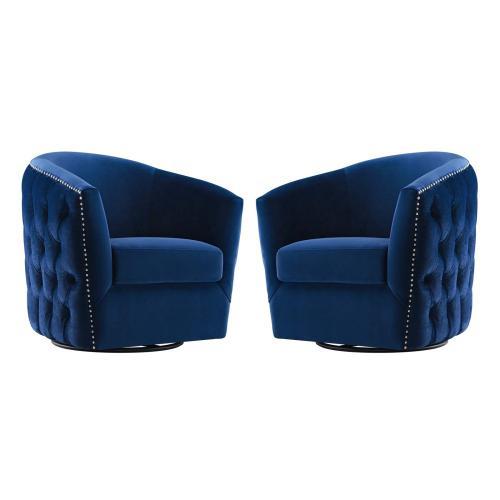 Rogue Armchair Performance Velvet Set of 2 in Navy