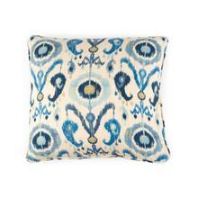 Toss Pillow with a Blue Ikat Pattern