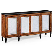 Rosewood & Ebonised Marble Topped Breakfront Cabinet