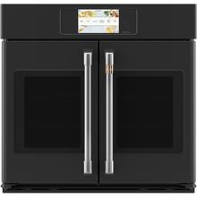 """See Details - Café ™ 30"""" Built-In French-Door Single Convection Wall Oven Matte Black"""