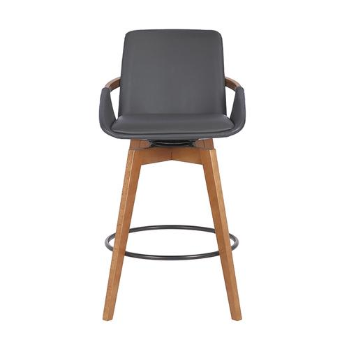 "Baylor 26"" Counter Height Swivel Barstool with Walnut Finish and Gray Faux Leather"