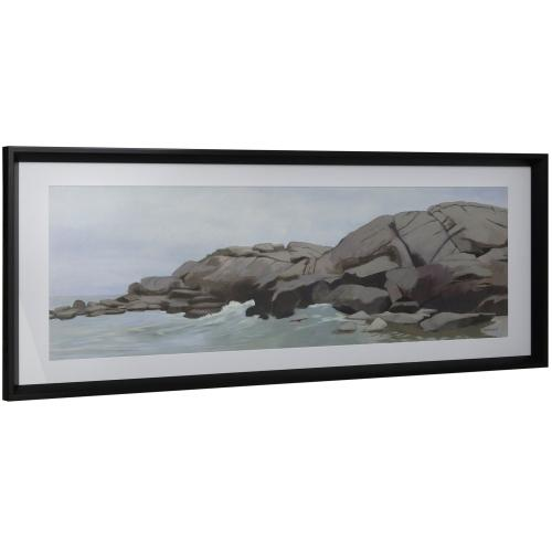 Style Craft - COASTLINE I  16in w X 41in ht  Framed Print Under Glass with Matte