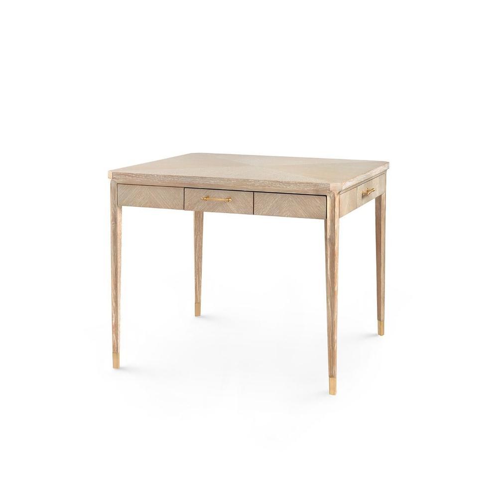 See Details - Bertram Game Table, Bleached Cerused Oak