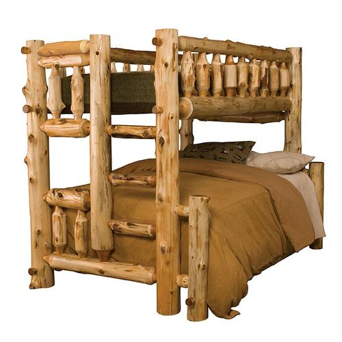 Traditional Bunk Bed - Queen/Double - Natural Cedar - Ladder Right