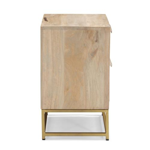 Rattan 2-drawer Cabinet, Natural and Gold