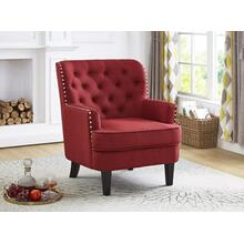 RED ACCENT CHAIR WITH NAILHEAD