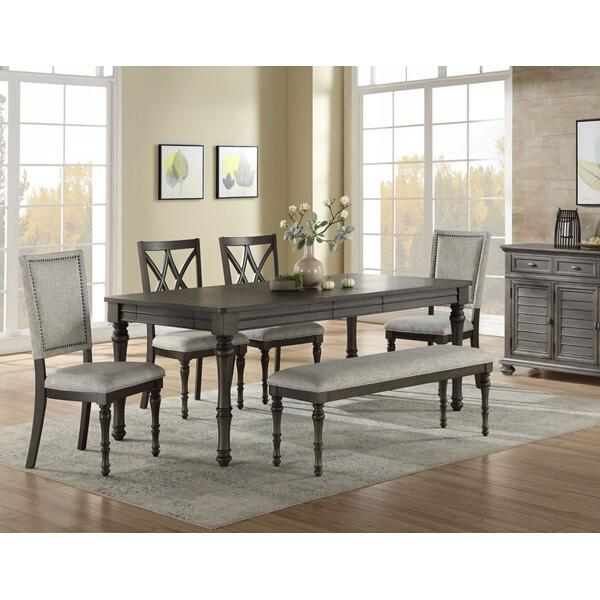 Linnett 6 Piece Set(Table, Bench, 2 Upholstered Side Chairs & 2 Side Chairs)