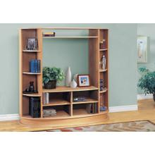 View Product - BOOKCASE - MAPLE WITH A SILVER BASE / STORAGE UNIT