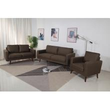 8123 3PC BROWN Linen Stationary Basic Living Room SET