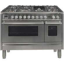 Professional Plus 48 Inch Dual Fuel Liquid Propane Freestanding Range in Stainless Steel with Chrome Trim