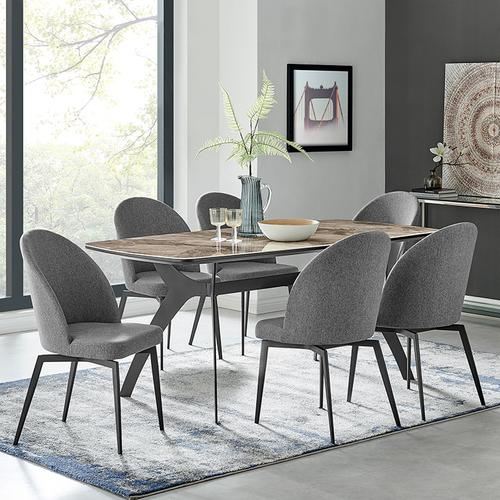 Andes and Sunny Gray Fabric 7 Piece Rectangular Dining Set