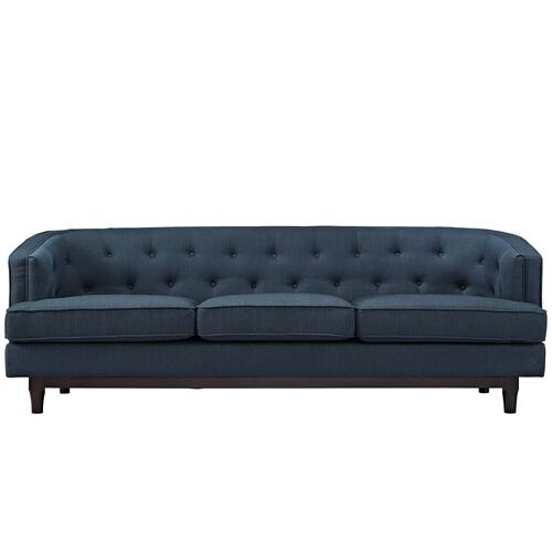 Coast Upholstered Fabric Sofa in Azure