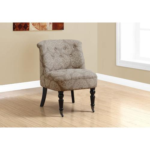 Gallery - ACCENT CHAIR - TRADITIONAL STYLE TAUPE SNOWFLAKE FABRIC