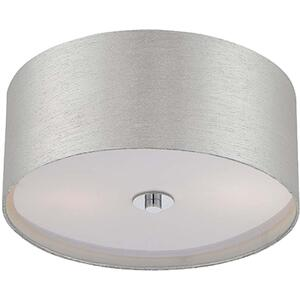Flush Mount, Chrome/silver Fabric Shade, E27 Type A 60wx2