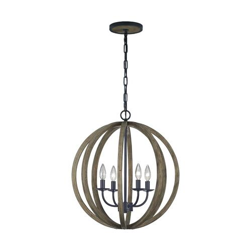 Allier Small Pendant Weathered Oak Wood / Antique Forged Iron