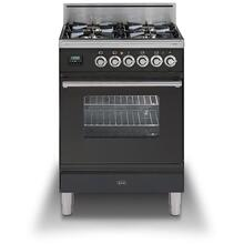 Professional Plus 24 Inch Gas Natural Gas Freestanding Range in Matte Graphite with Chrome Trim