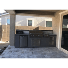 View Product - BBQ Island With Built-In BBQ Grill Refrigerator, Drawers, & Double Side Burner