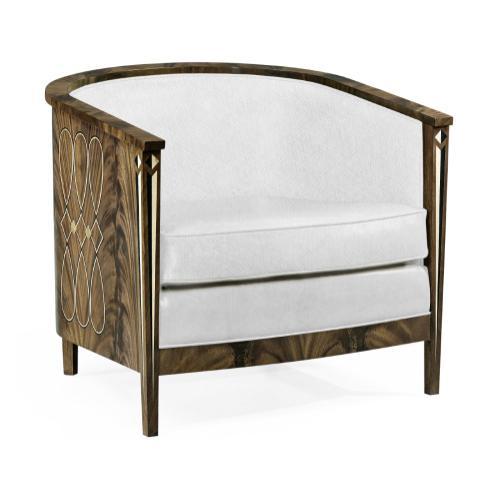 Buckingham Bleached Mahogany Tub Chair, Upholstered in COM