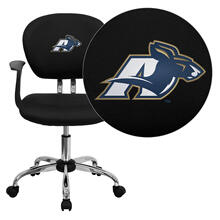 Akron Zips Embroidered Black Mesh Task Chair with Arms and Chrome Base