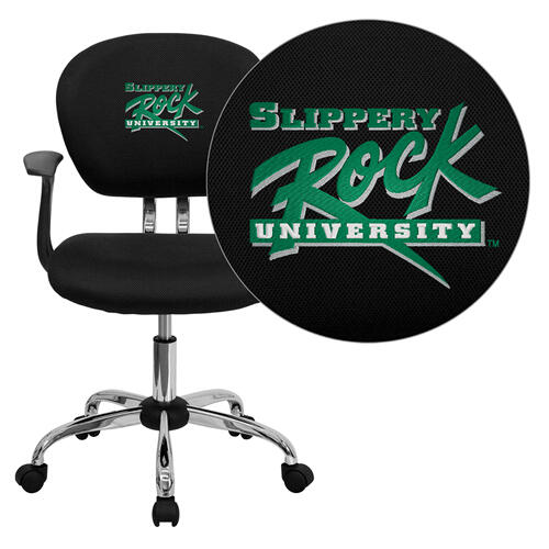 Slippery Rock University Embroidered Black Mesh Task Chair with Arms and Chrome Base