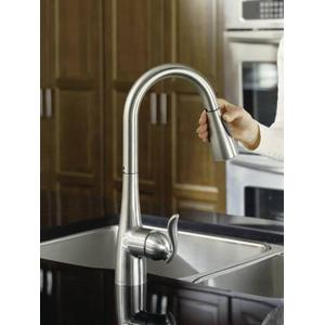 7594csl In Classic Stainless By Moen In Raleigh Nc Arbor Classic Stainless One Handle High Arc Pulldown Kitchen Faucet