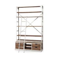 Brodie IV 57L x 20.5W x 94H Medium Brown Wood Silver Ladder Four Shelf Shelving Unit