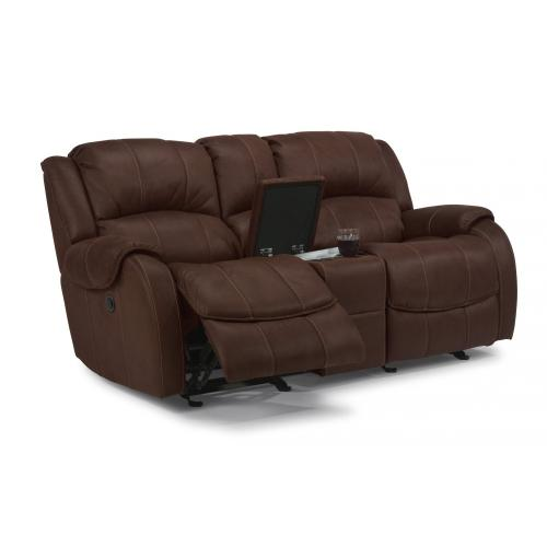 Product Image - Pure Comfort Fabric Power Reclining Loveseat with Console