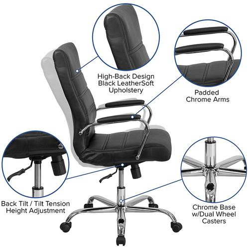 Gallery - High Back Black LeatherSoft Executive Swivel Office Chair with Chrome Frame and Arms