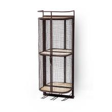 Saluti I Wall Mounted Metal Mesh Cage 2 wooden shelves and storage for 6 stemmed glasses.