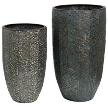 Industrial Stamped  Set of Two  20in & 16in Ht. Metal Vases
