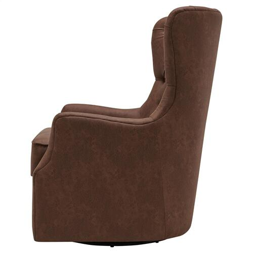 Anthony Fabric Swivel Rocker Tufted Accent Arm Chair, Devore Cocoa
