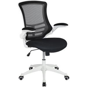 Gallery - Mid-Back Black Mesh Swivel Ergonomic Task Office Chair with White Frame and Flip-Up Arms