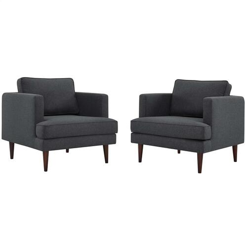 Agile Upholstered Fabric Armchair Set of 2 in Gray