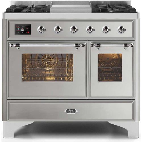 Majestic II 40 Inch Dual Fuel Liquid Propane Freestanding Range in Stainless Steel with Chrome Trim