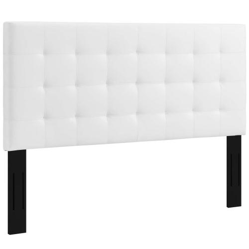 Paisley Tufted Full / Queen Upholstered Faux Leather Headboard in White