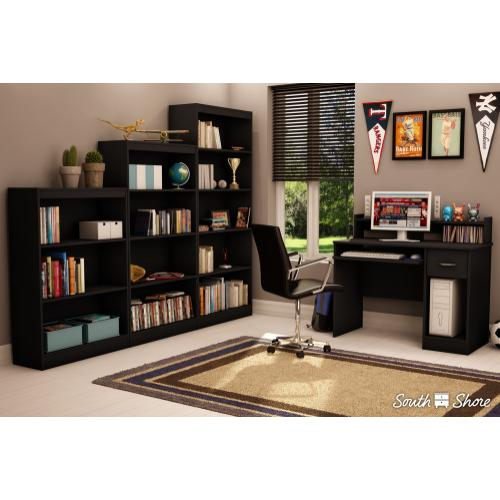 3-Shelf Bookcase - Pure Black