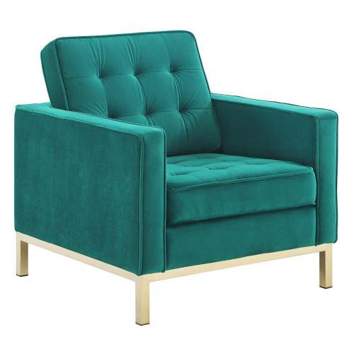 Loft Gold Stainless Steel Leg Performance Velvet Armchair Set of 2 in Gold Teal