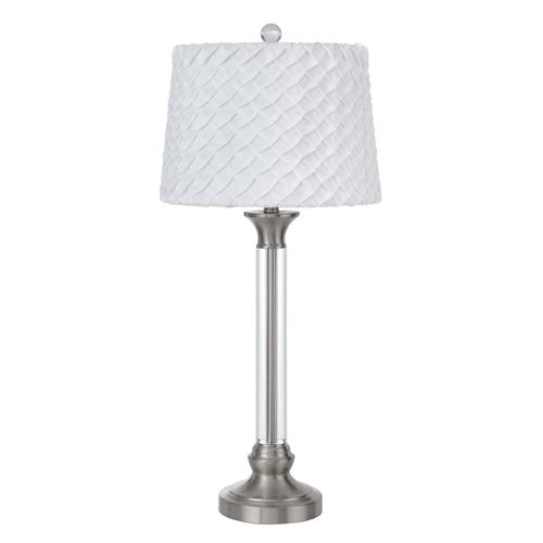 150W 3 way Ruston crystal/metal table lamp with pleated hardback shade