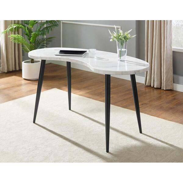 Kinsley White Marble Kidney Shape Desk