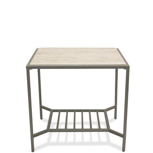 Pinnacle - Rectangular Side Table - White Sands Finish