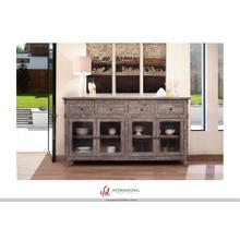 See Details - 4 Drawer, 4 glass door console - Grey finish