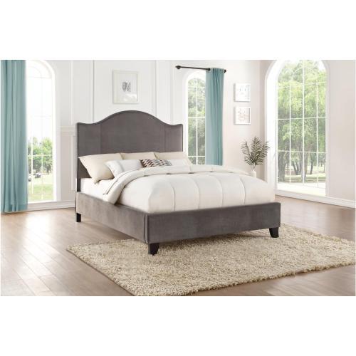Eastern King Bed in Gray Velvet Fabric