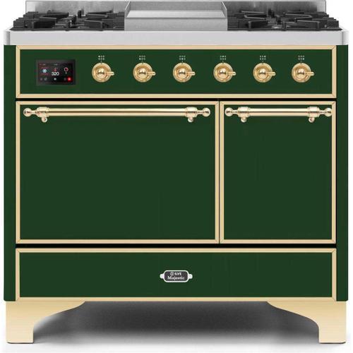 Ilve - Majestic II 40 Inch Dual Fuel Liquid Propane Freestanding Range in Emerald Green with Brass Trim