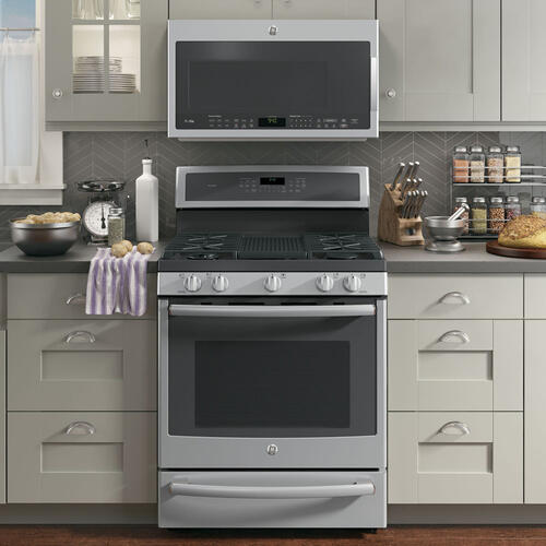 "GE Profile 30"" Gas Freestanding Dual-Fuel Convection Range with Warming Drawer Stainless Steel PC2B940SEJSS"