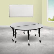 """See Details - 2 Piece Mobile 47.5"""" Circle Wave Flexible Grey Thermal Laminate Kids Adjustable Activity Table Set"""