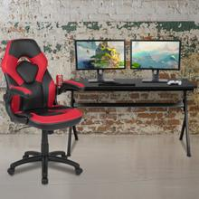 See Details - Gaming Desk and Red\/Black Racing Chair Set \/Cup Holder\/Headphone Hook\/Removable Mouse Pad Top - 2 Wire Management Holes