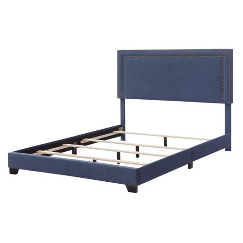 Denim Blue Upholstered Full Bed with Double Nail Head Trim