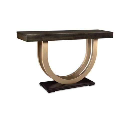 """- Contempo Pedestal 60"""" Sofa Table with Metal Curves"""